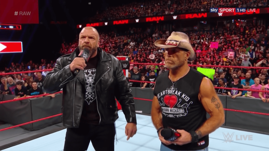 Shawn Michaels und Triple H nach WWE Super Show-Down / (c) 2018 WWE. All Rights Reserved.