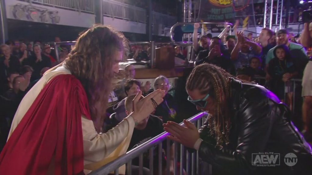 Joey Janela begrüßt Jesus auf Chris Jerichos Rock N Rager at Sea - AEW Dynamite