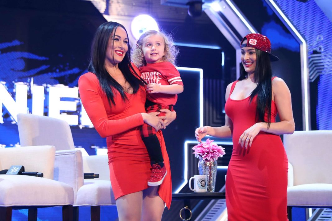 Nikki & Brie Bella + Birdie / (c) 2020 WWE. All Rights Reserved.
