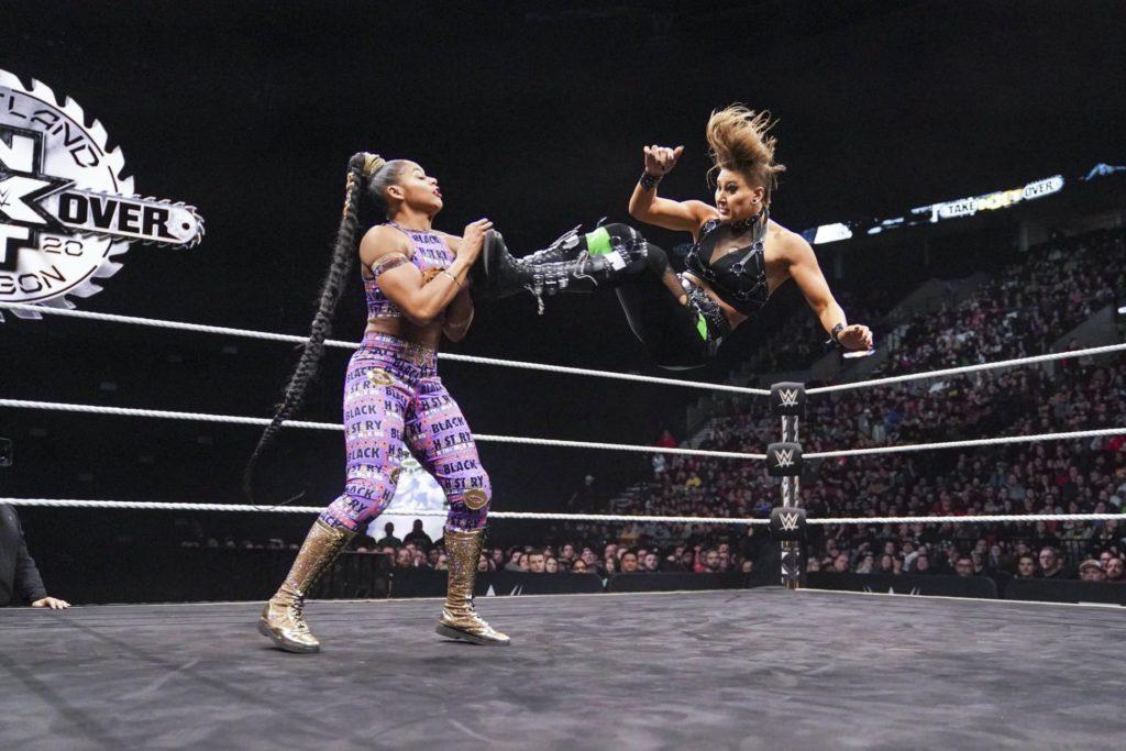 Rhea Ripley im Takeover-Match gegen Bianca Belair (Februar 2020) (c) 2020 WWE. All Rights Reserved.