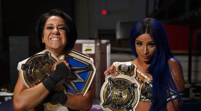WWE SmackDown Women's Champions Bayley & Sasha Banks - (c) 2020 WWE. All Rights Reserved.