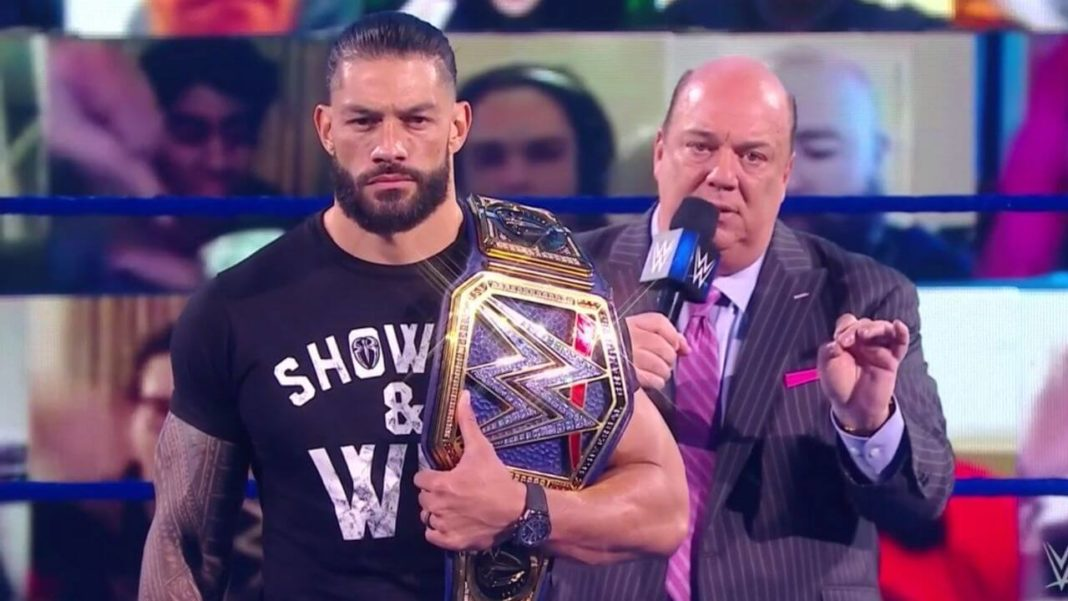 Paul Heyman mit Roman Reigns bei WWE SmackDown - (c) 2020 WWE. All Rights Reserved.