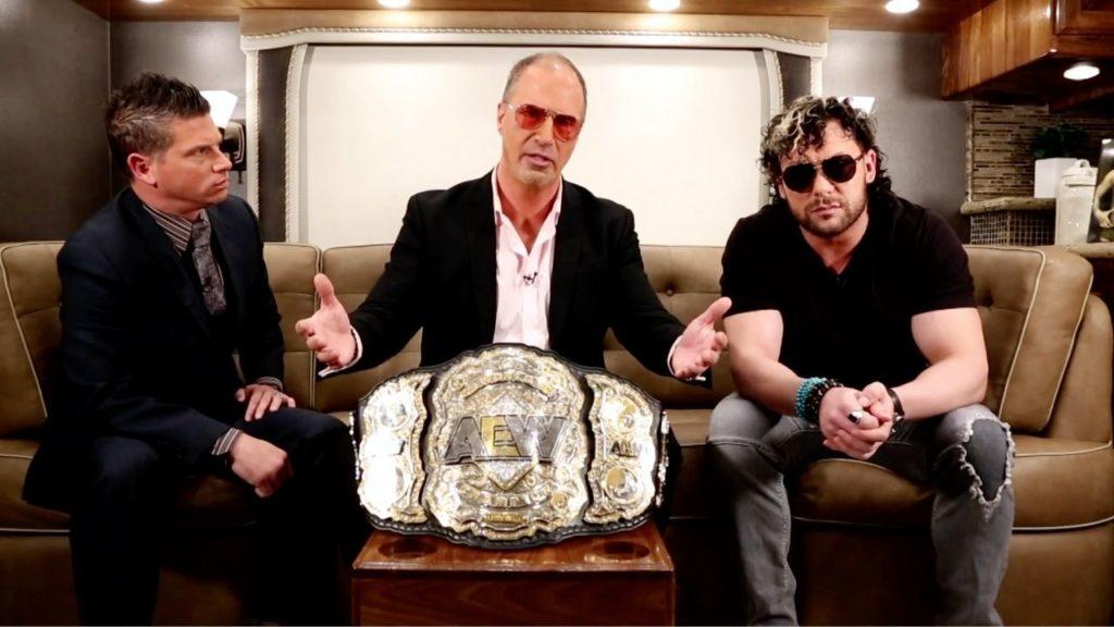 Josh Mathews, IMPACT Wrestling VP Don Callis, AEW Champion Kenny Omega