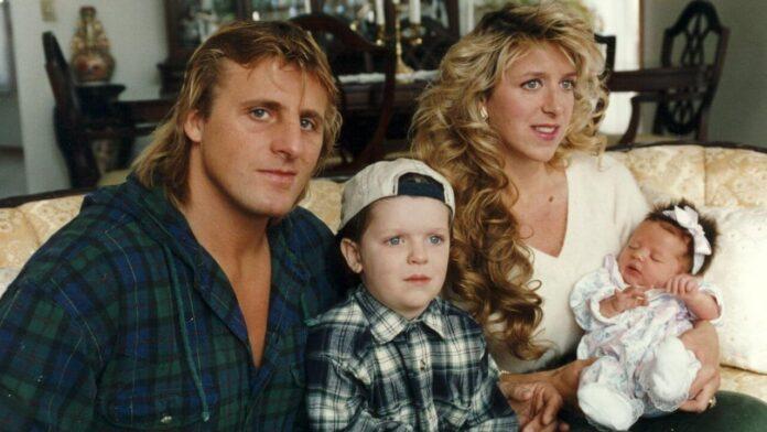 Owen und Martha Hart mit ihen beiden Kindern Oje und Athena 1995 in ihrem Haus in Calgary. (c) Wolfgang Stach